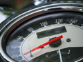 Speedometer detail flat angled close up of an old motorcycle Stock Images