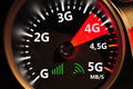 Speedometer and 4G high speed internet Royalty Free Stock Photo