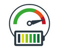 Speedometer Icon and Battery