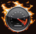 Speedometer involved in flames Royalty Free Stock Photography