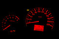 Speedometer orage backlight close up Royalty Free Stock Photo
