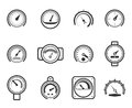 Speedometers manometers tachometers and barometers in linear design style vector meter icons set indicator measurement meter Royalty Free Stock Image
