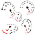 Speedometers in normal and perspective views Stock Photo