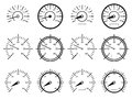 Speedometers set of illustrated on white background Stock Image