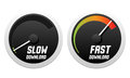 Speedometers with slow and fast download Royalty Free Stock Photo
