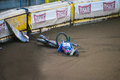 Speedway crash rider just after with band during championship nobody was injured Stock Photos