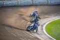 Speedway three players during exciting competition on track located in rybnik poland Royalty Free Stock Photos