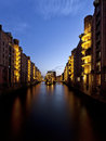 Speicherstadt hamburg at dusk ancient warehouse district Stock Photos