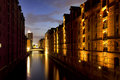 Speicherstadt hamburg at dusk ancient warehouse district Stock Photo