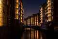 stock image of  Speicherstadt in Hamburg, Germany at night
