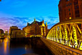Speicherstadt in Hamburg by night Royalty Free Stock Images