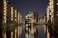 Speicherstadt Hamburg By Night Royalty Free Stock Photos