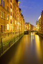 The Speicherstadt at night Royalty Free Stock Photos