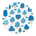 Speing or winter trees. Scandinavian trees in a flat style. Childish Forest. Color doodle decorating style in blue and