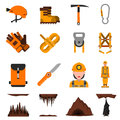 Speleology flat icons set speleologist in helmet with light harness equipment and ice axe abstract isolated vector illustration Stock Images