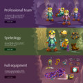 Speleology interactive 3d banners set