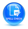 Spell check document glassy cyan blue round button