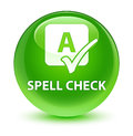 Spell check glassy green round button