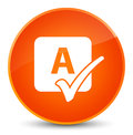 Spell check icon elegant orange round button