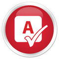 Spell check icon premium red round button