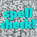 Spell check letter background correct spelling words on a of d letters to illustrate software application or program that will Stock Photo