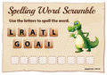 Spelling word game template with word alligator