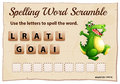 Spelling word scramble game with word alligator