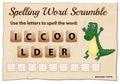 Spelling word scramble for word crocodile