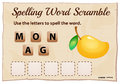 Spelling word scramble for word mango Royalty Free Stock Photo