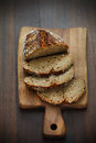 Spelt flour bread sliced on a cutting board for breakfast whole grainflour Royalty Free Stock Photos
