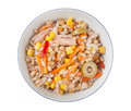 Spelt salad with tunna carrots peppers corns and olives in the bowl Stock Photo