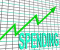 Spending chart graph shows increasing expenditure purchasing Royalty Free Stock Image