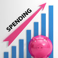 Spending graph means costs expenses and outlay meaning Stock Photos