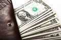 Spending money in your wallet close up Royalty Free Stock Photos