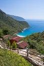 Spending summer holidays in beautiful bungalows in kabak bay on aegean sea on turkish coastline, kabak, turkey Royalty Free Stock Photo