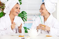 Spending time at spa two beautiful young women in bathrobe drinking tea and talking to each other while sitting in front of Royalty Free Stock Image