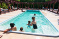 Spending time in swimming pool people bucharest romania Royalty Free Stock Photo