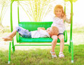 Spending time on swing Royalty Free Stock Photo