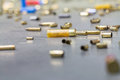 Spent shell casings. Royalty Free Stock Photo