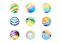 Sphere,logo,globe,wave,circle,round,technologogy,world symbol design icon set
