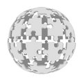 Sphere consisting of puzzles d render isolated on white background Royalty Free Stock Photos