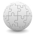Sphere consisting of puzzles isolated render on a white background Stock Photo