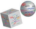 Sphere and a cube with different words on white background for designers for various necessities Stock Photos