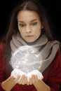 Sphere in hands magic portrait of young girl holding transparent like earth Royalty Free Stock Photography