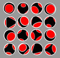 Sphere icon set in black red and white Royalty Free Stock Photo