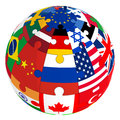 Sphere from a puzzle with images of country flags Royalty Free Stock Photo