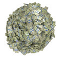 Sphere shape assembled of US dollar bundles Stock Images