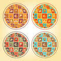Sphere of social networking concept in the form with flat web icons in four retro color combinations Stock Image
