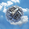 Spherical city world in clouds Royalty Free Stock Photo