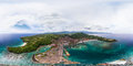 Spherical, 360 degrees, seamless aerial panorama of the tropical